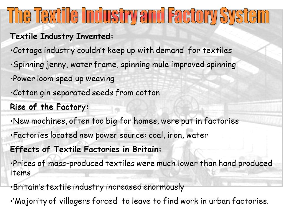 The Textile Industry and Factory System
