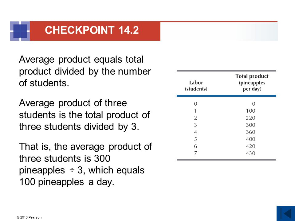 CHECKPOINT 14.2 Average product equals total product divided by the number of students.