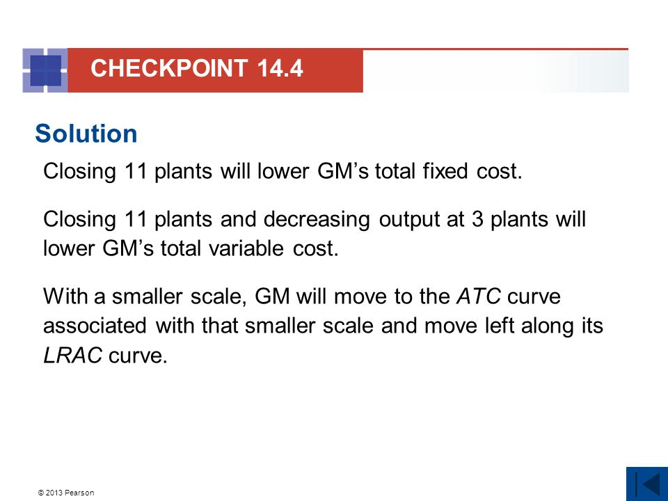 CHECKPOINT 14.4 Solution. Closing 11 plants will lower GM's total fixed cost.