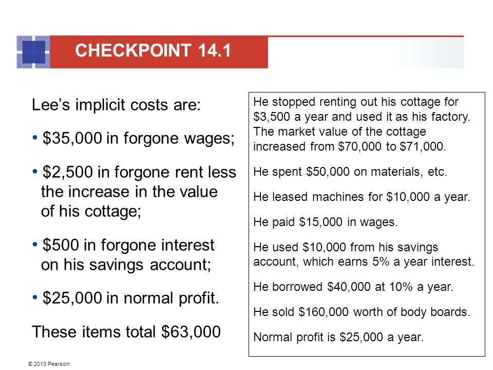 CHECKPOINT 14.1 Lee's implicit costs are: $35,000 in forgone wages;