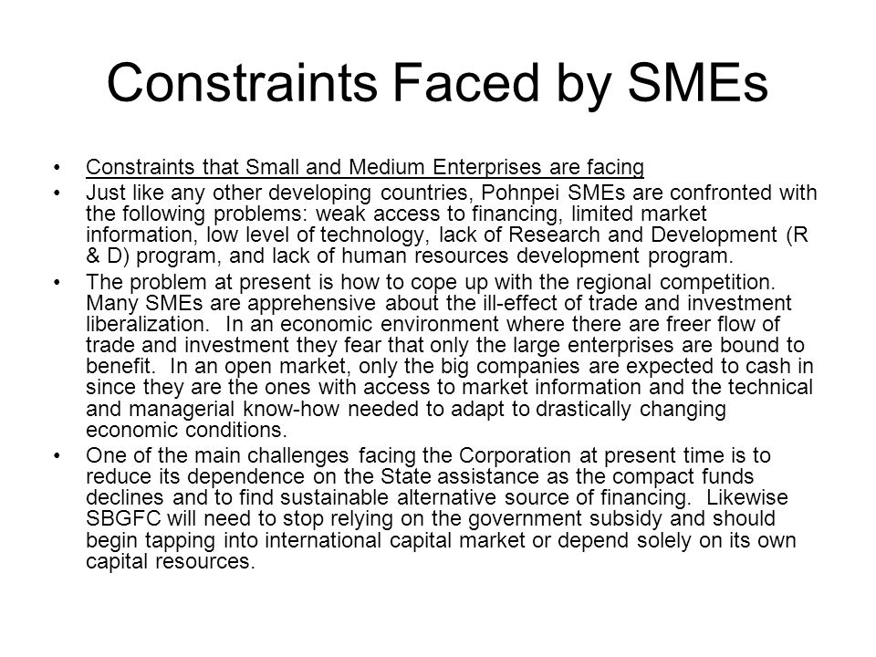 Constraints Faced by SMEs