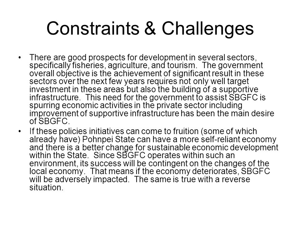 Constraints & Challenges