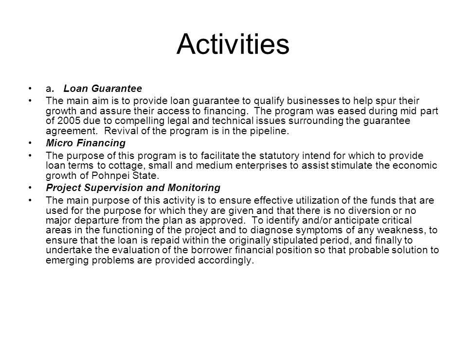 Activities a. Loan Guarantee