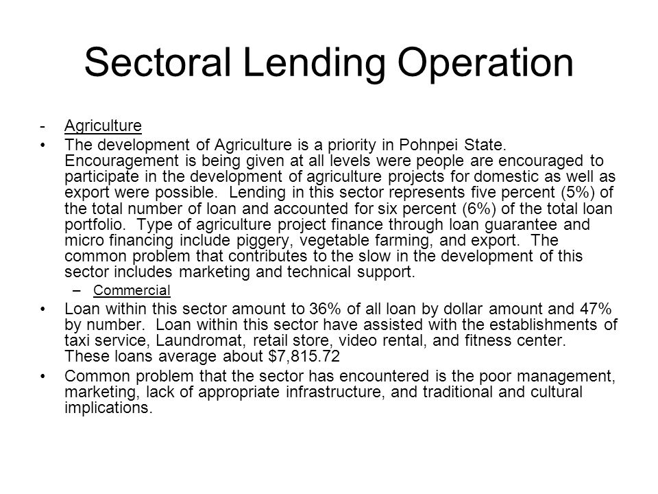 Sectoral Lending Operation