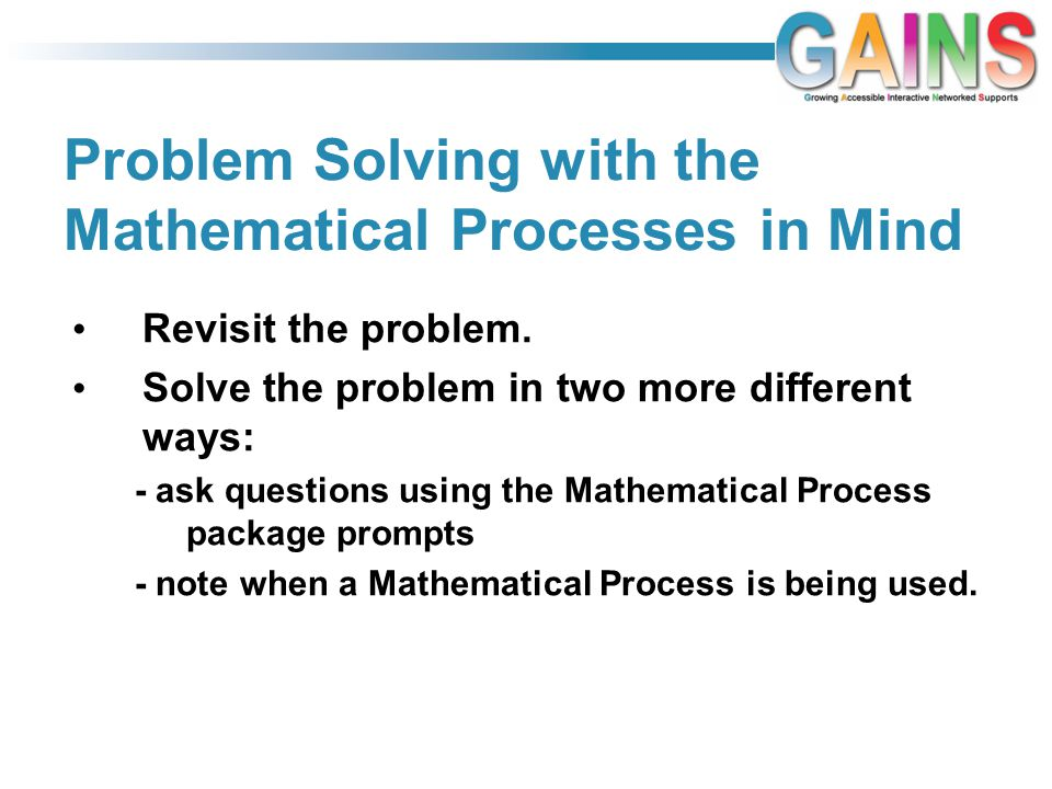 Problem Solving with the Mathematical Processes in Mind