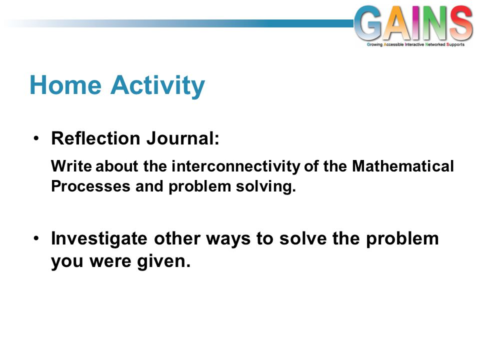 Home Activity Reflection Journal: