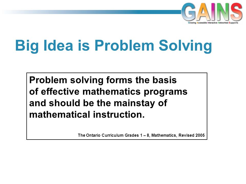 Big Idea is Problem Solving