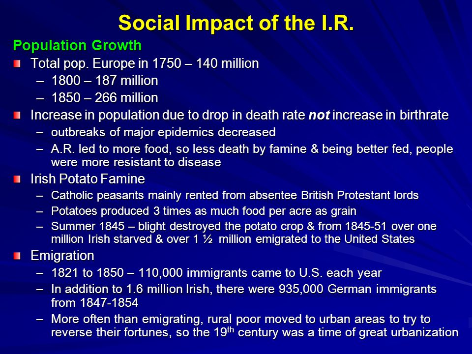Social Impact of the I.R. Population Growth