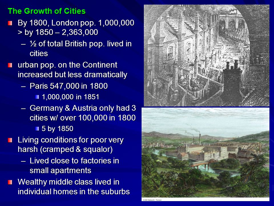 ½ of total British pop. lived in cities