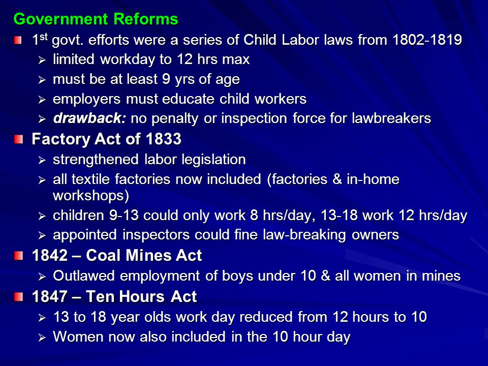 Government Reforms Factory Act of 1833 1842 – Coal Mines Act