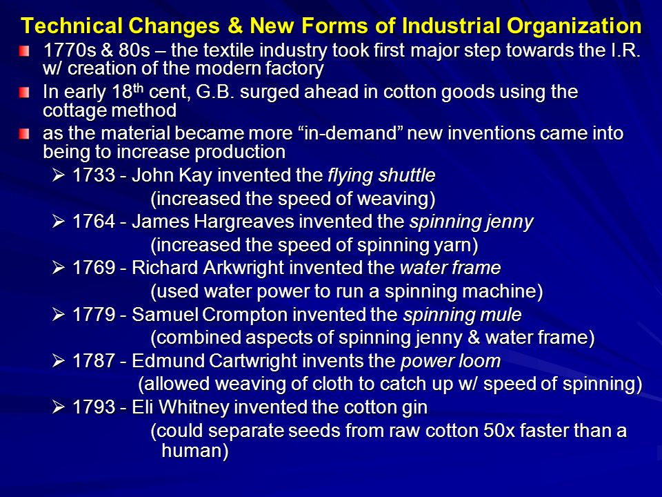 Technical Changes & New Forms of Industrial Organization