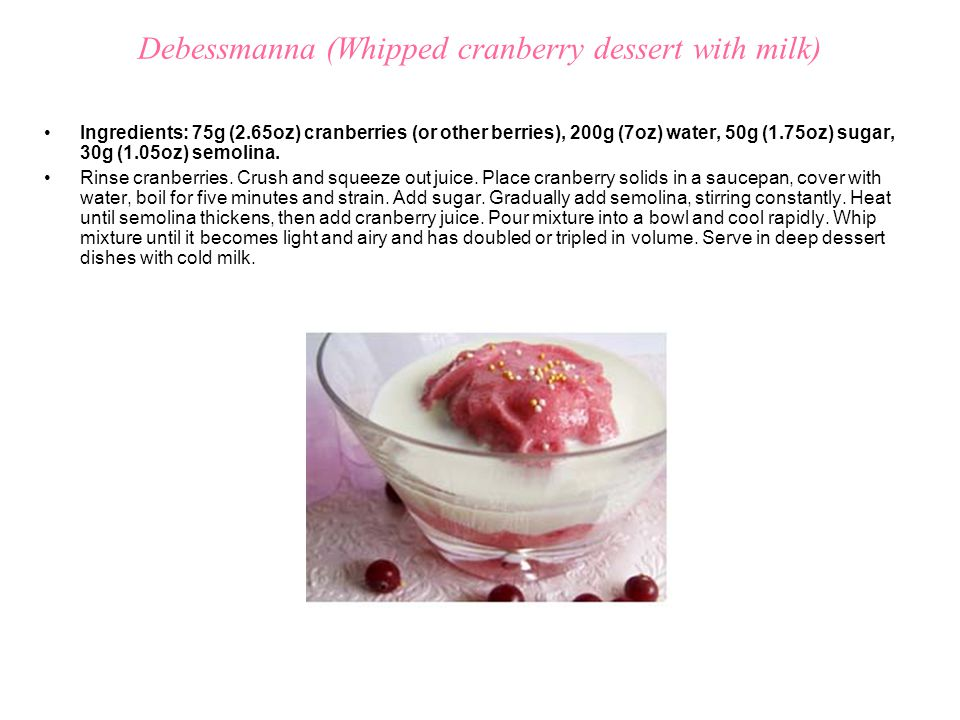 Debessmanna (Whipped cranberry dessert with milk)
