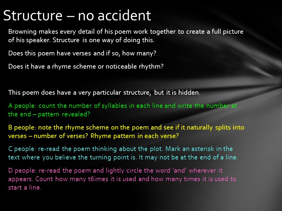 Structure – no accident