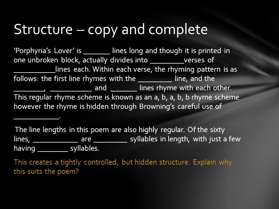 Structure – copy and complete