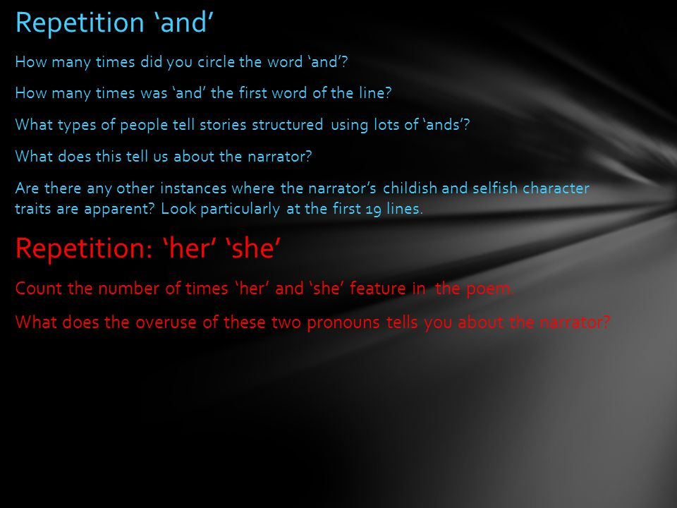 Repetition: 'her' 'she'