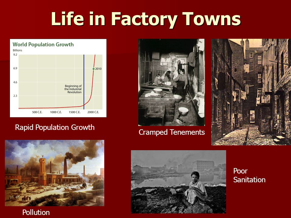 Life in Factory Towns Rapid Population Growth Cramped Tenements