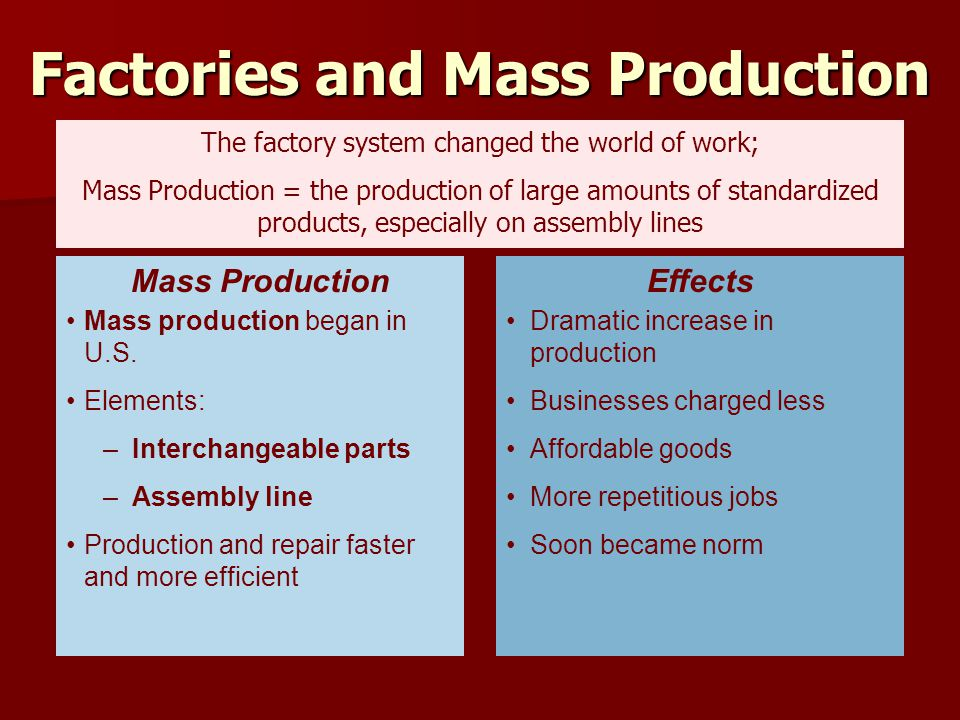 Factories and Mass Production