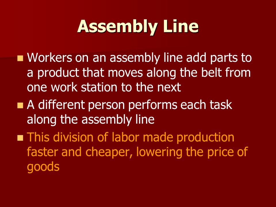 Assembly Line Workers on an assembly line add parts to a product that moves along the belt from one work station to the next.