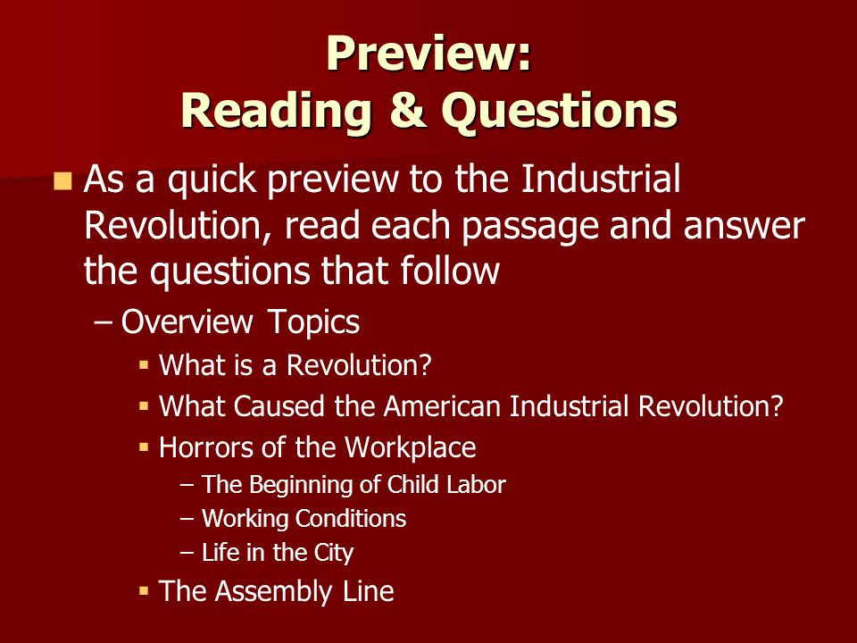 Preview: Reading & Questions