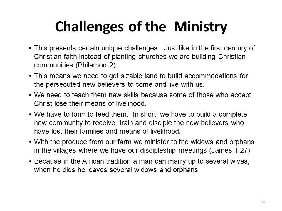Challenges of the Ministry