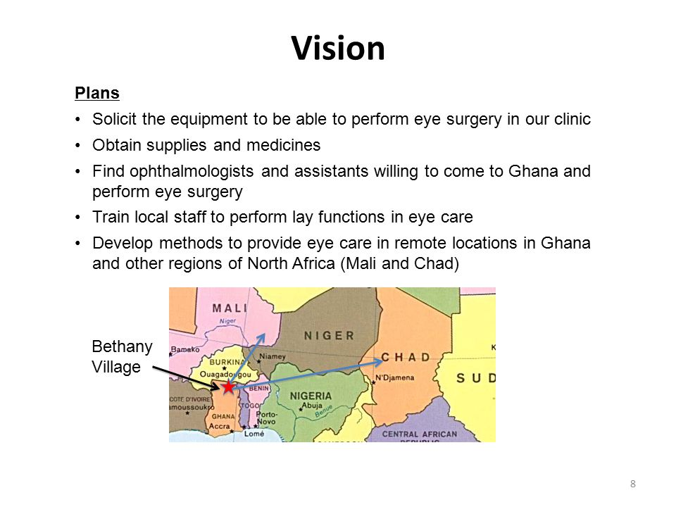 Vision Plans. Solicit the equipment to be able to perform eye surgery in our clinic. Obtain supplies and medicines.
