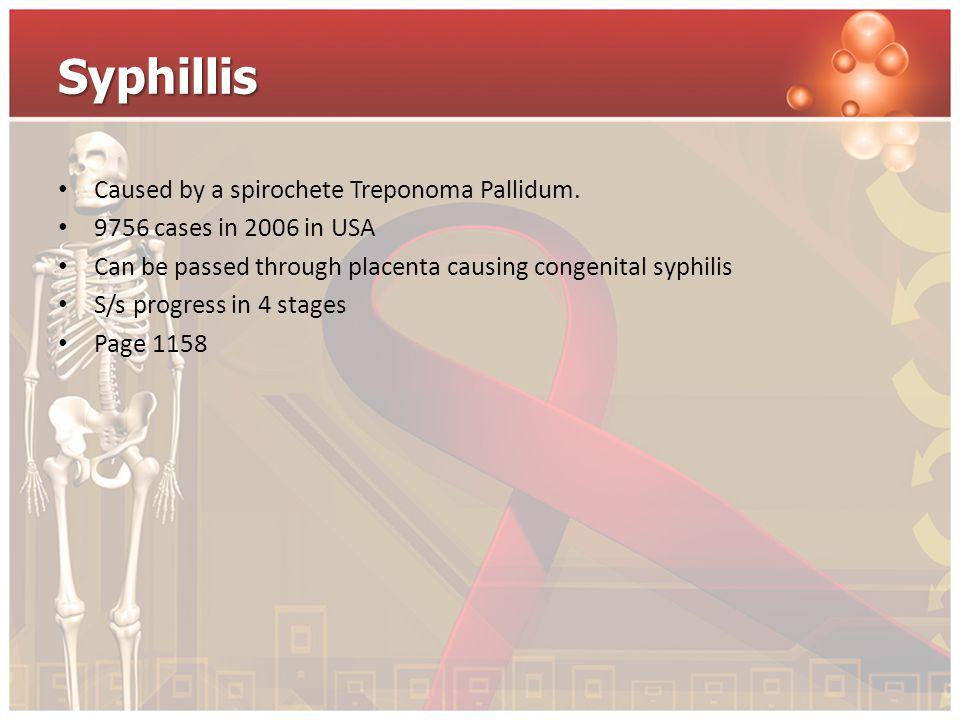 Syphillis Caused by a spirochete Treponoma Pallidum.
