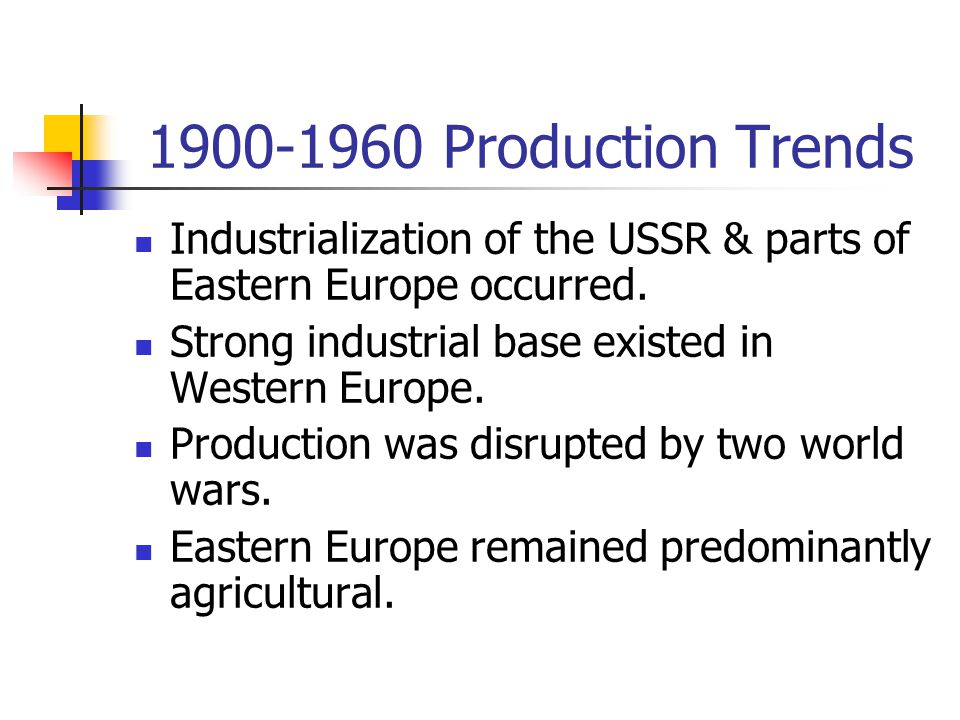 1900-1960 Production Trends Industrialization of the USSR & parts of Eastern Europe occurred. Strong industrial base existed in Western Europe.
