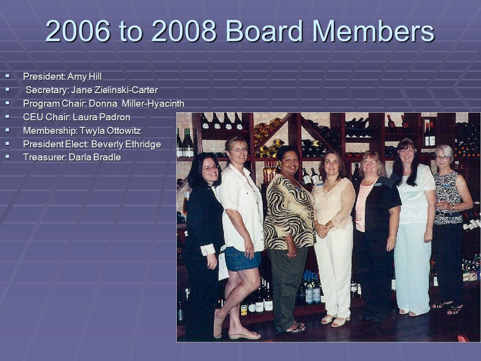 2006 to 2008 Board Members President: Amy Hill