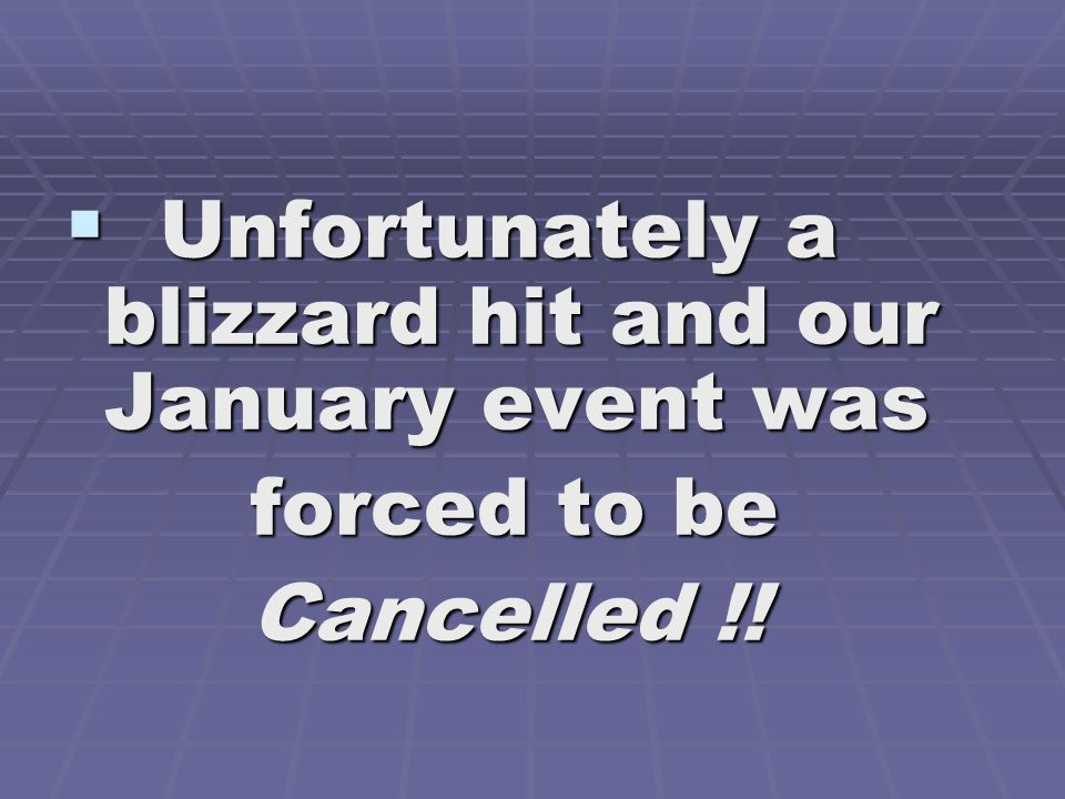 Unfortunately a blizzard hit and our January event was
