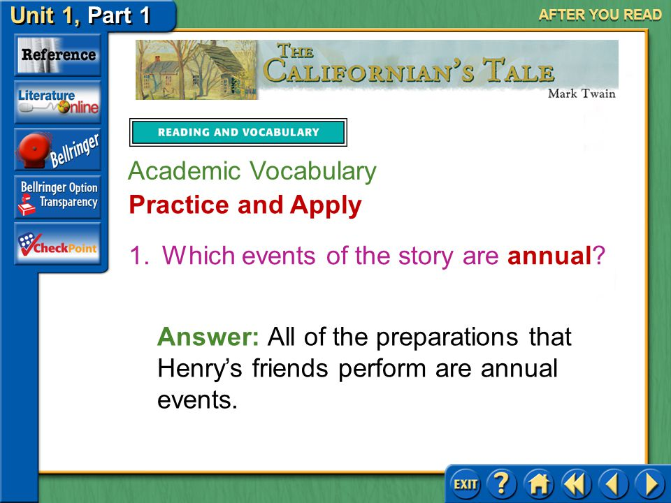 Which events of the story are annual