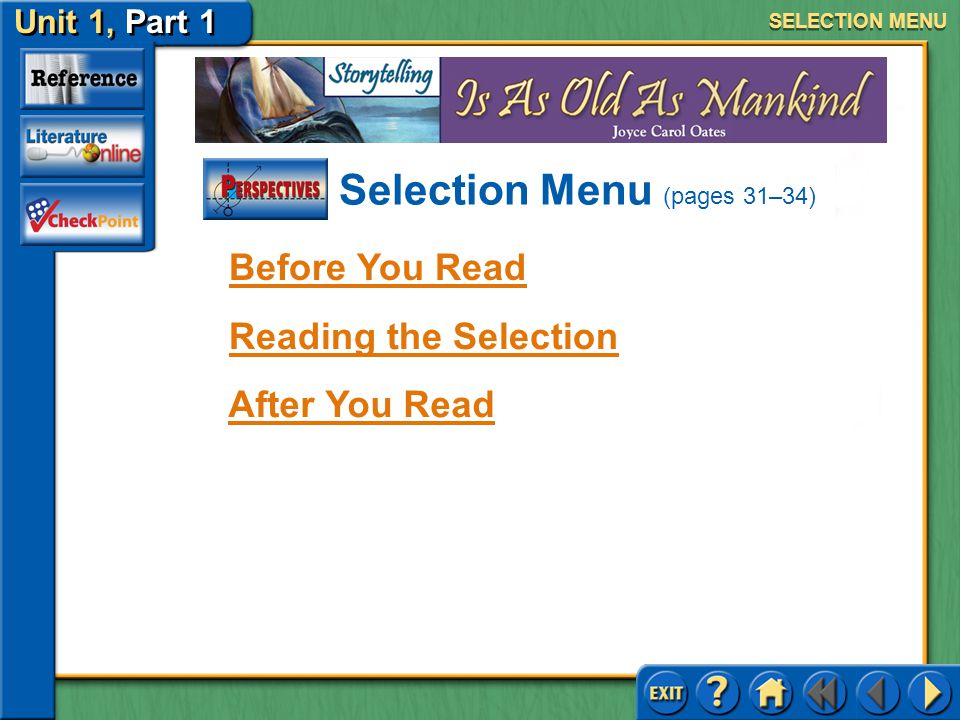 Selection Menu (pages 31–34)