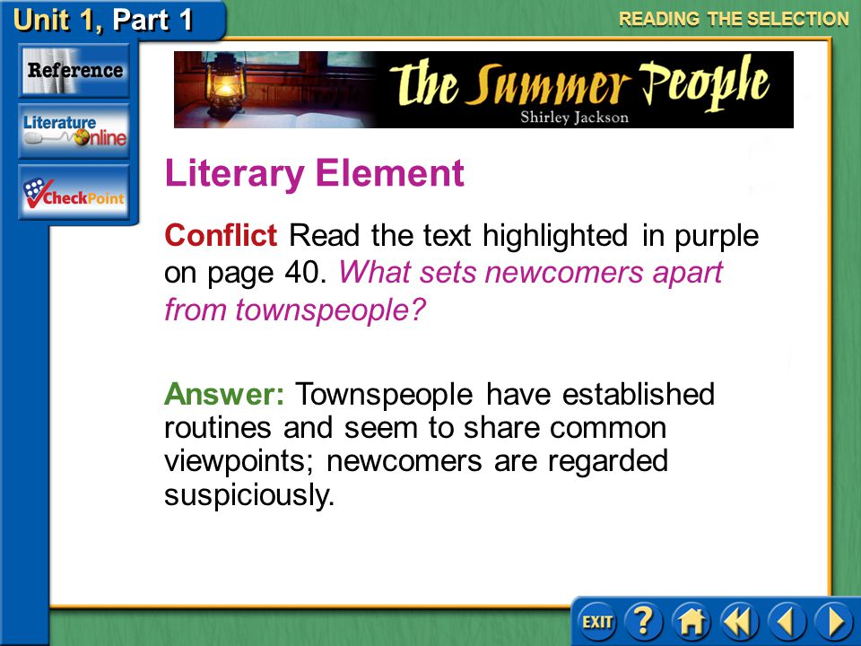 READING THE SELECTION Literary Element. Conflict Read the text highlighted in purple on page 40. What sets newcomers apart from townspeople