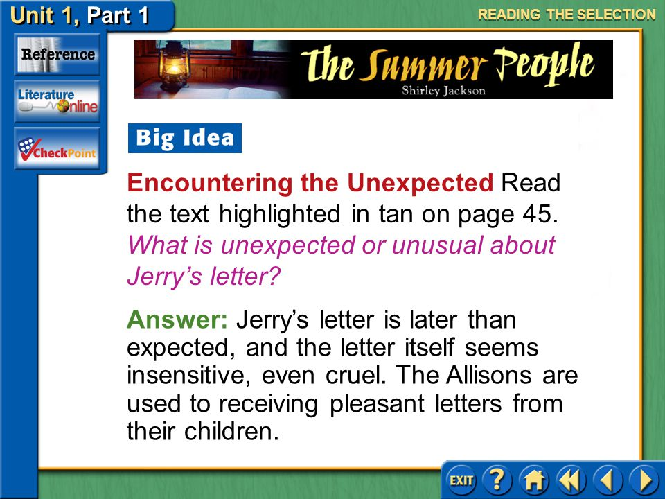 READING THE SELECTION Encountering the Unexpected Read the text highlighted in tan on page 45. What is unexpected or unusual about Jerry's letter