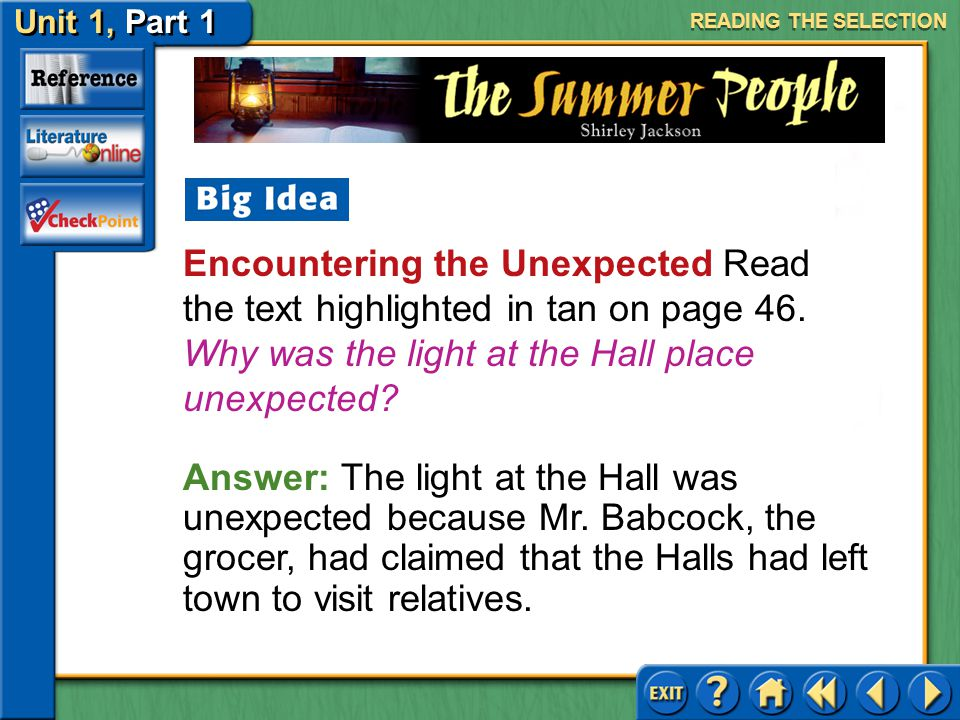 READING THE SELECTION Encountering the Unexpected Read the text highlighted in tan on page 46. Why was the light at the Hall place unexpected