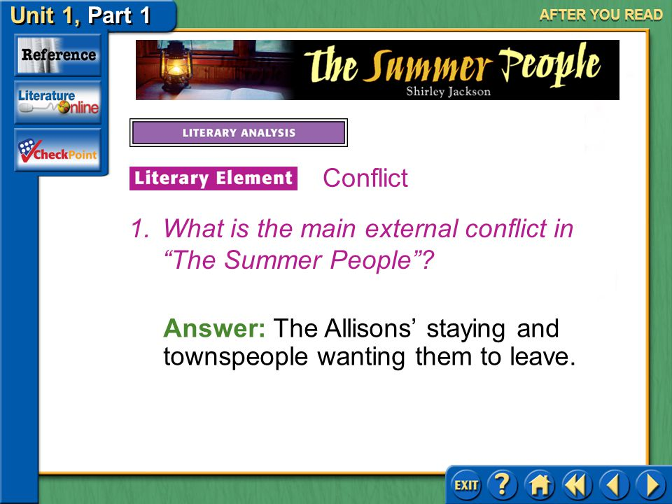 What is the main external conflict in The Summer People