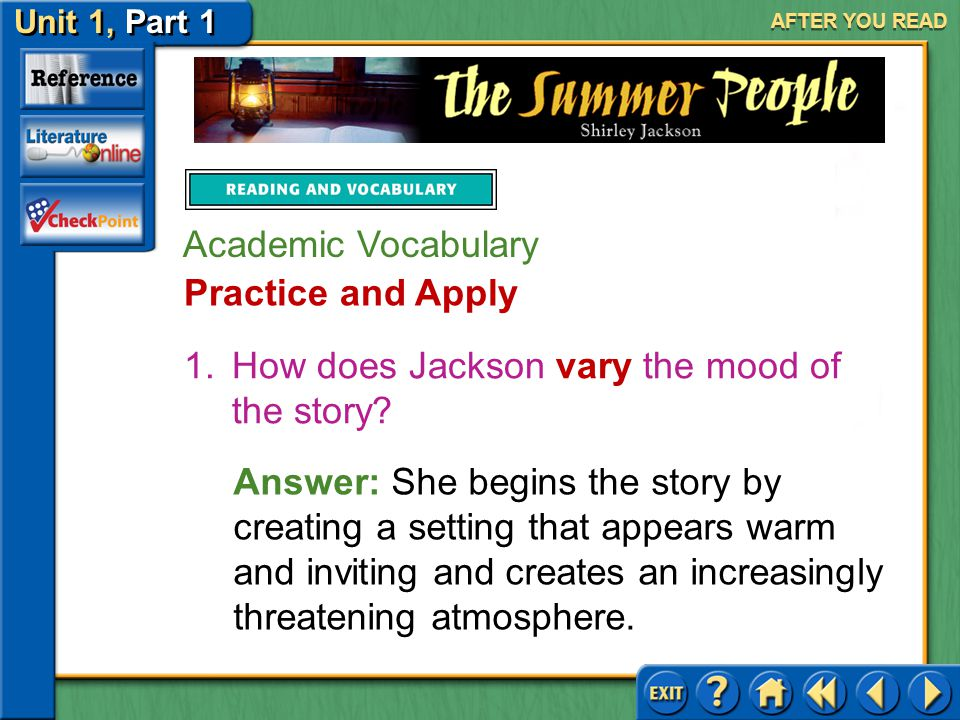 How does Jackson vary the mood of the story