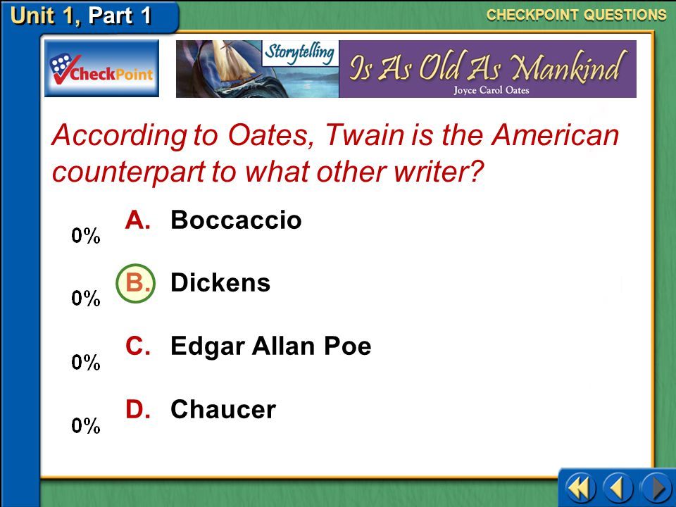 CHECKPOINT QUESTIONS According to Oates, Twain is the American counterpart to what other writer Boccaccio.