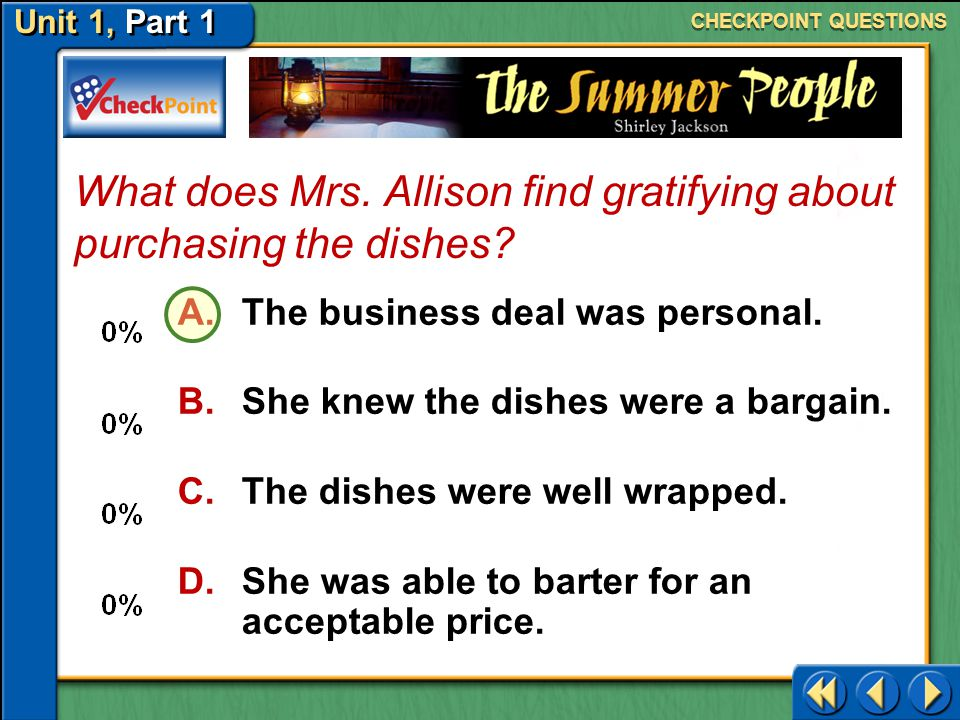 What does Mrs. Allison find gratifying about purchasing the dishes