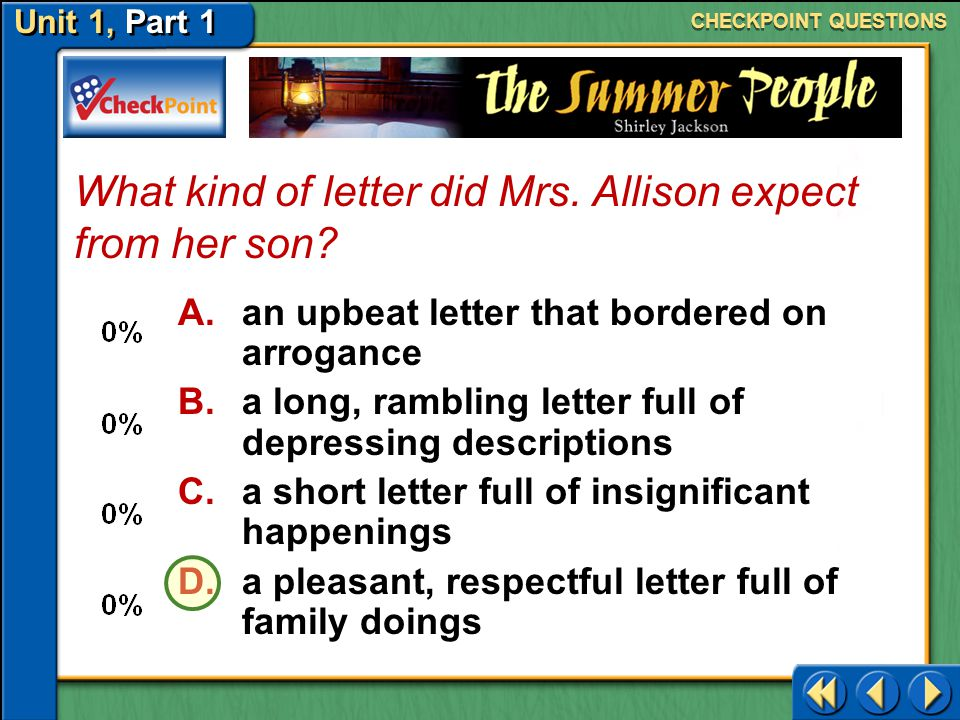 What kind of letter did Mrs. Allison expect from her son