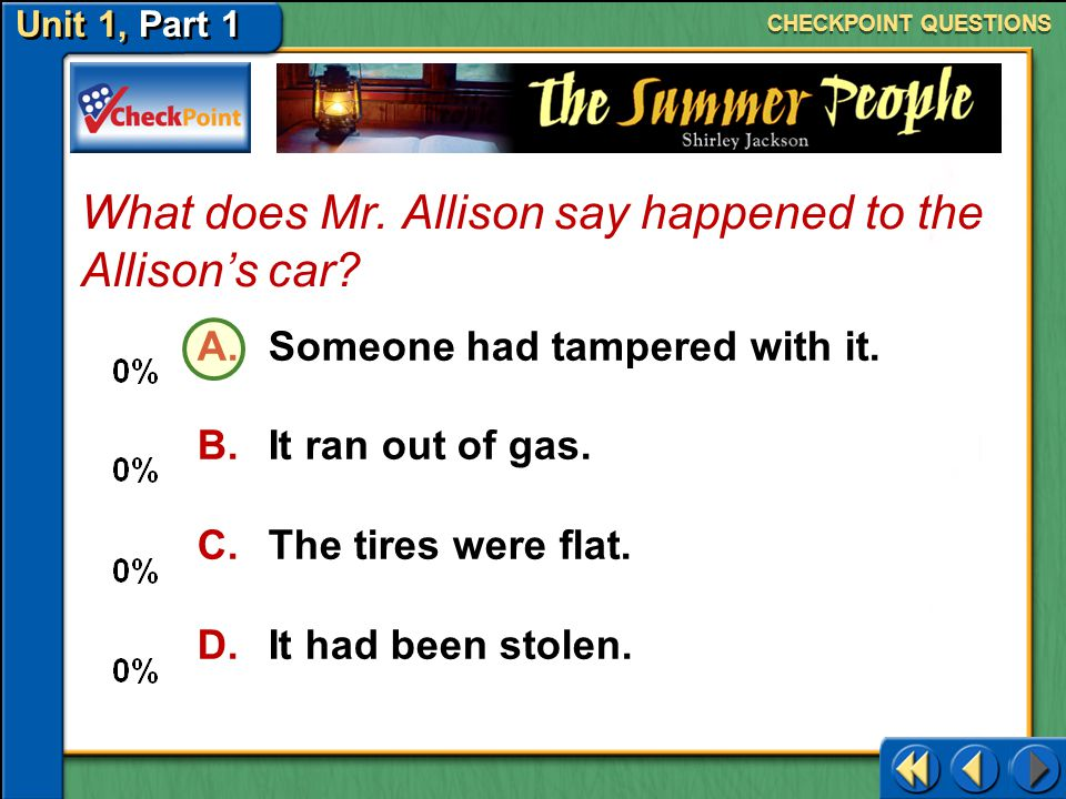What does Mr. Allison say happened to the Allison's car