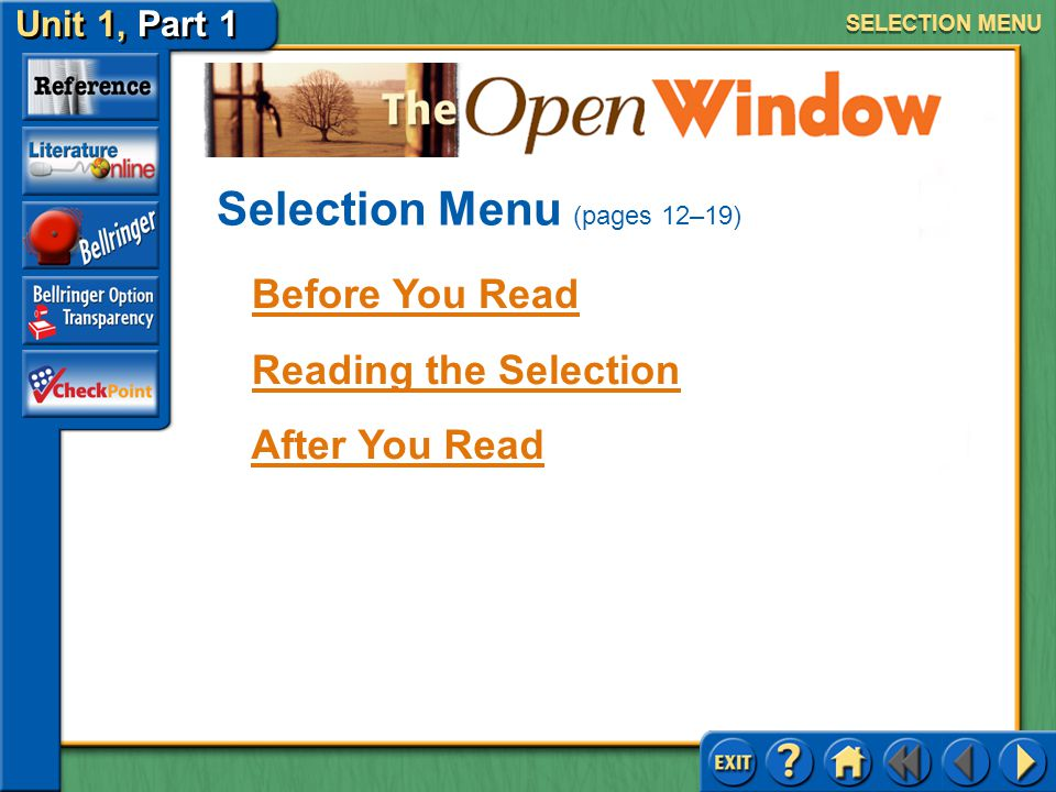 Selection Menu (pages 12–19)