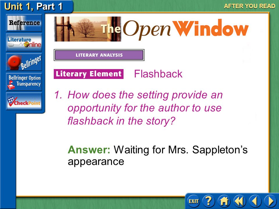 Answer: Waiting for Mrs. Sappleton's appearance