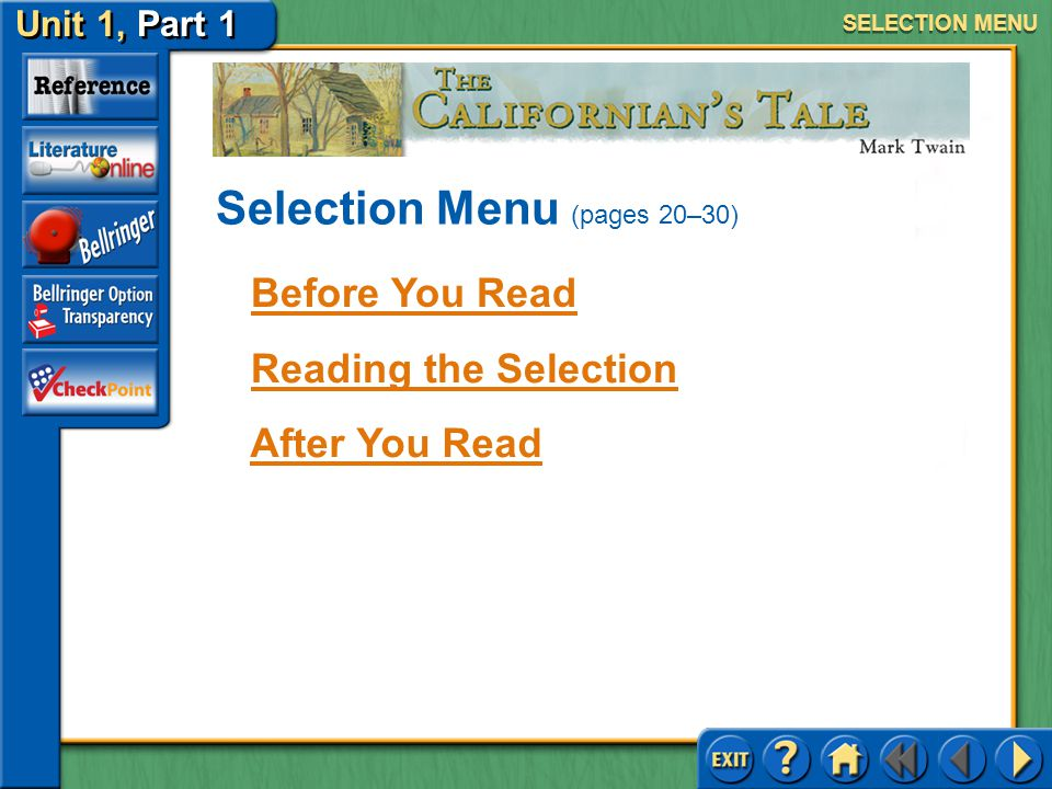 Selection Menu (pages 20–30)