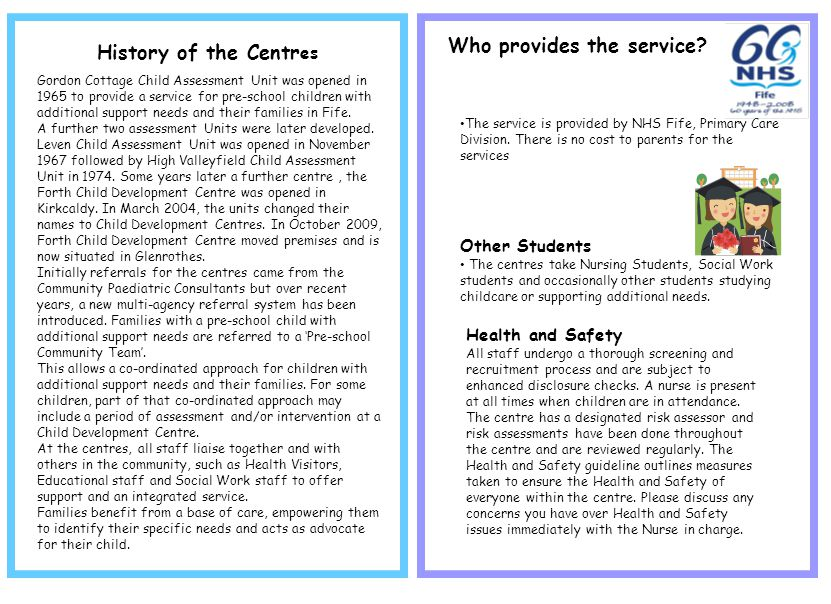 Who provides the service History of the Centres