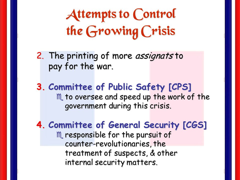 Attempts to Control the Growing Crisis