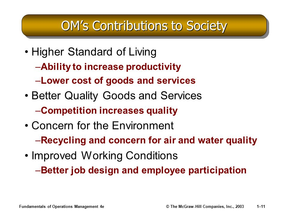 OM's Contributions to Society