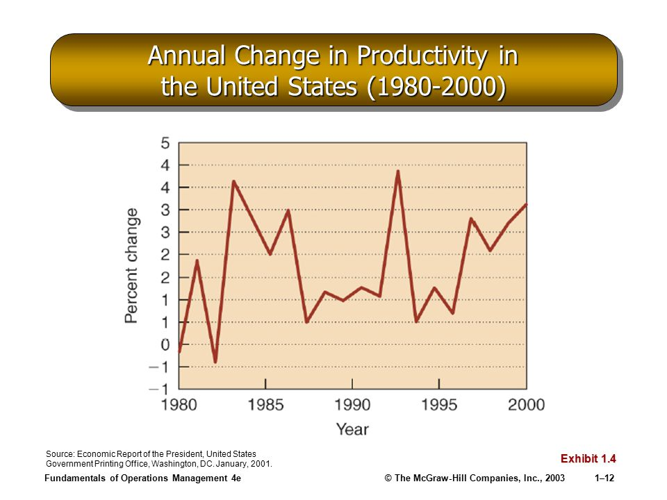 Annual Change in Productivity in the United States (1980-2000)