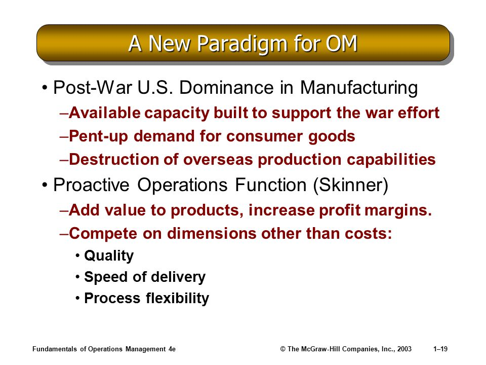 A New Paradigm for OM Post-War U.S. Dominance in Manufacturing