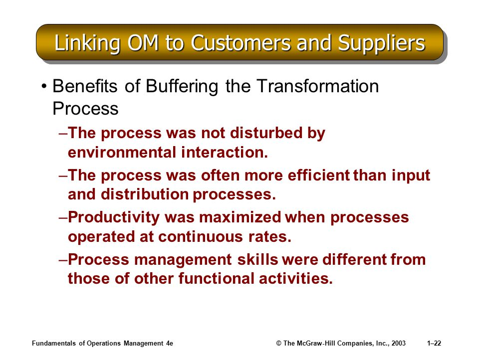 Linking OM to Customers and Suppliers