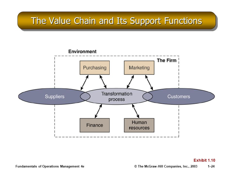 The Value Chain and Its Support Functions
